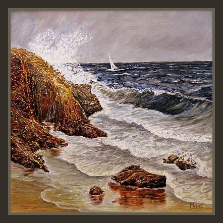 Seascape, beautiful waves on the see, cliffs and rocks on the beach
